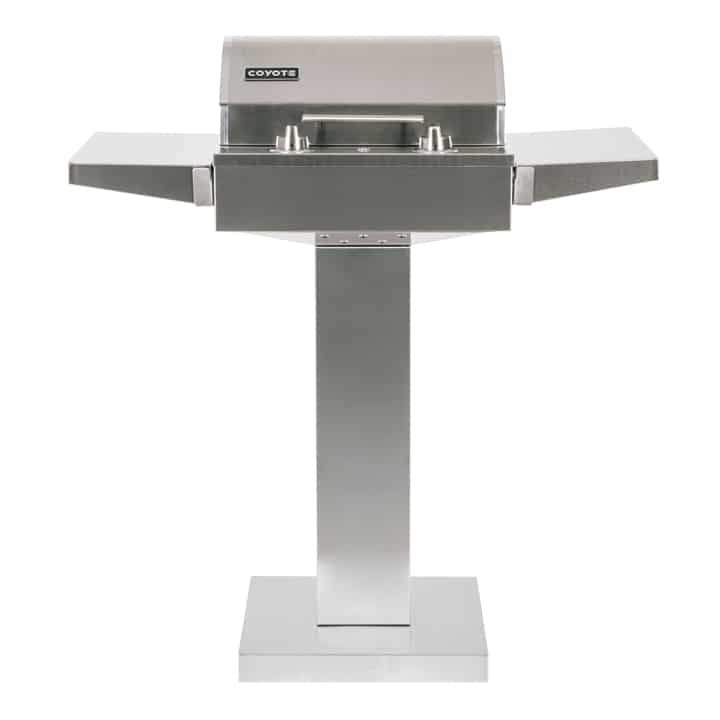 Coyote Electric Grill on Pedestal with Lid Closed