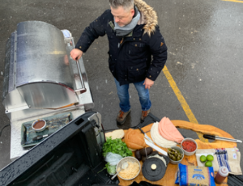 The Coyote Pellet Grill on CP24 Toronto during a Snowy Super Bowl Sunday