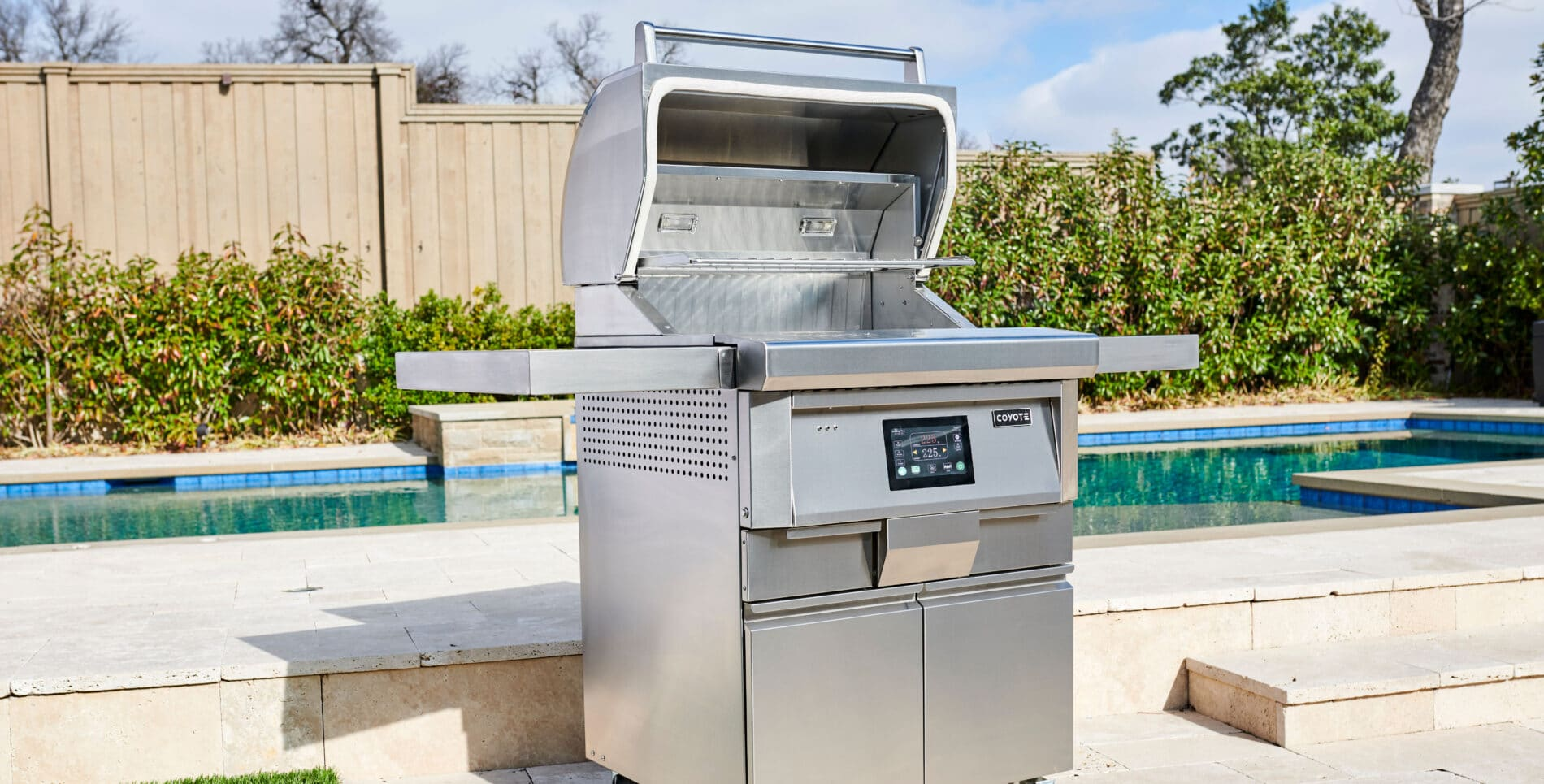 Coyote 28-Inch Pellet Grill with Hood Open