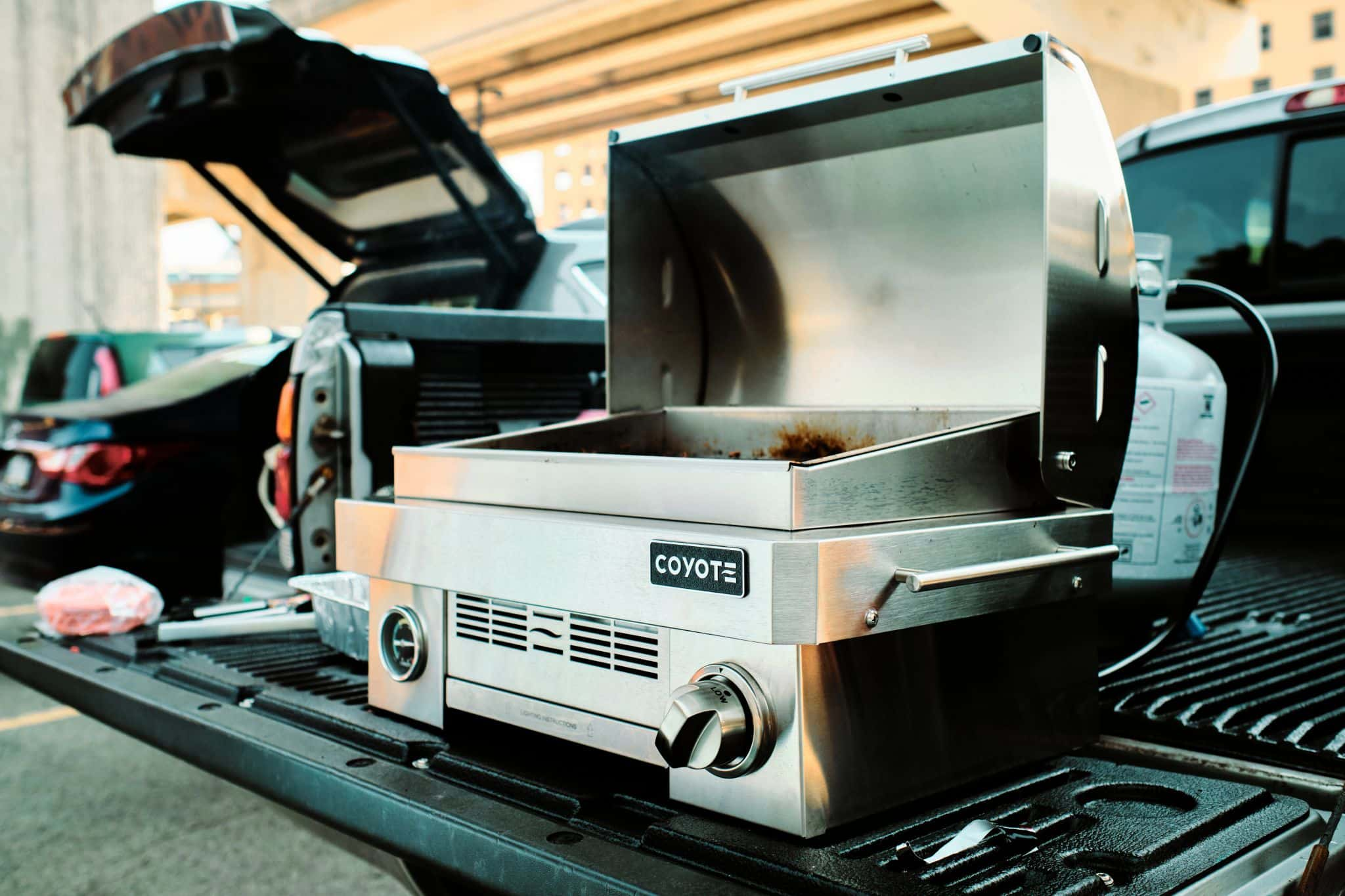 Coyote Portable Grill on a Truck Tailgate